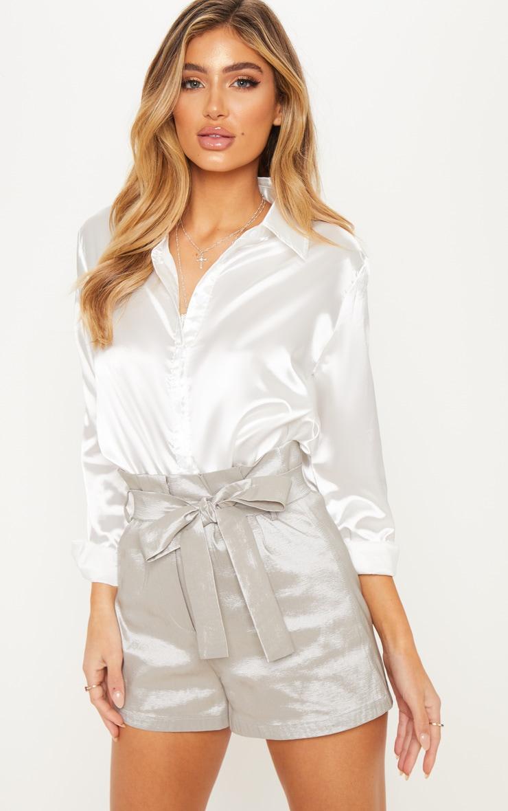 Silver Metallic Satin Tie Waist Short