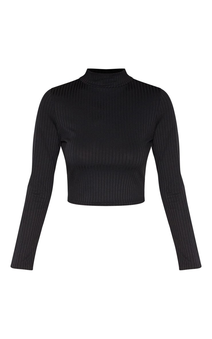 Tall Black High Neck Ribbed Long Sleeve Crop Top 3