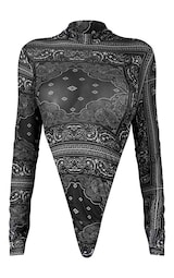 Black Paisley Printed Mesh Bodysuit 6