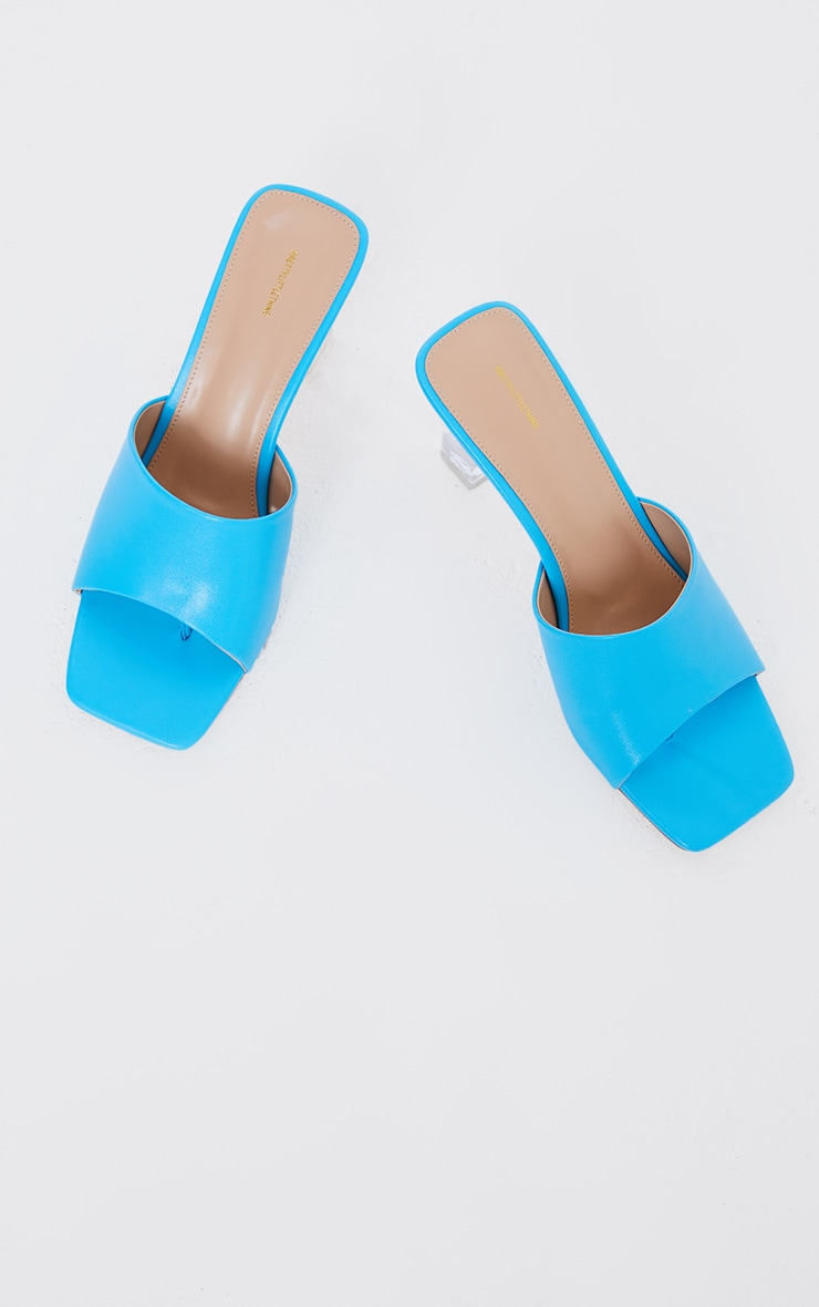 Bright Blue PU Toe Thong Square Toe Clear Heeled Mules 1