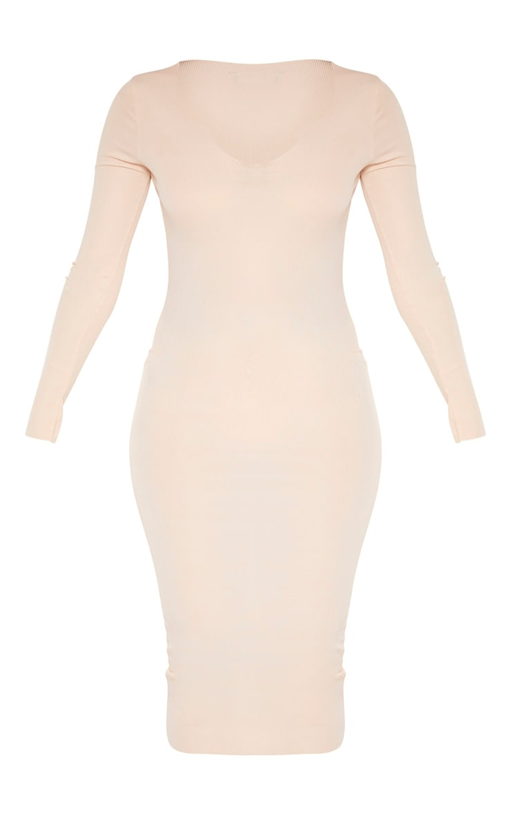 Nude Raw Edge Long Sleeve Rib Midi Dress 3