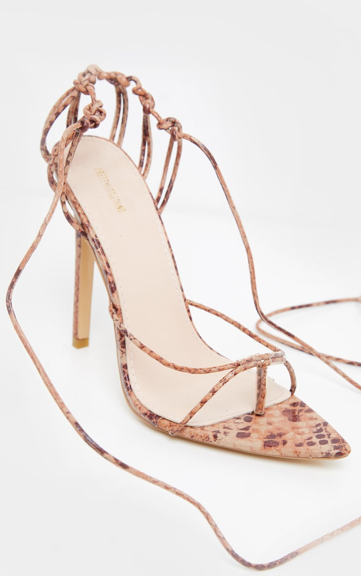 Snake Caged Heel Point Toe Sandal 3