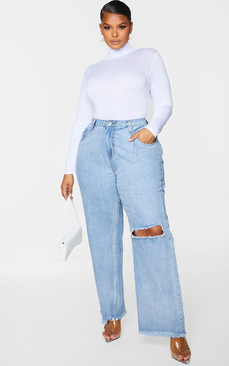 Plus Vintage Knee Rip Wide Leg Fray Hem Jeans 1
