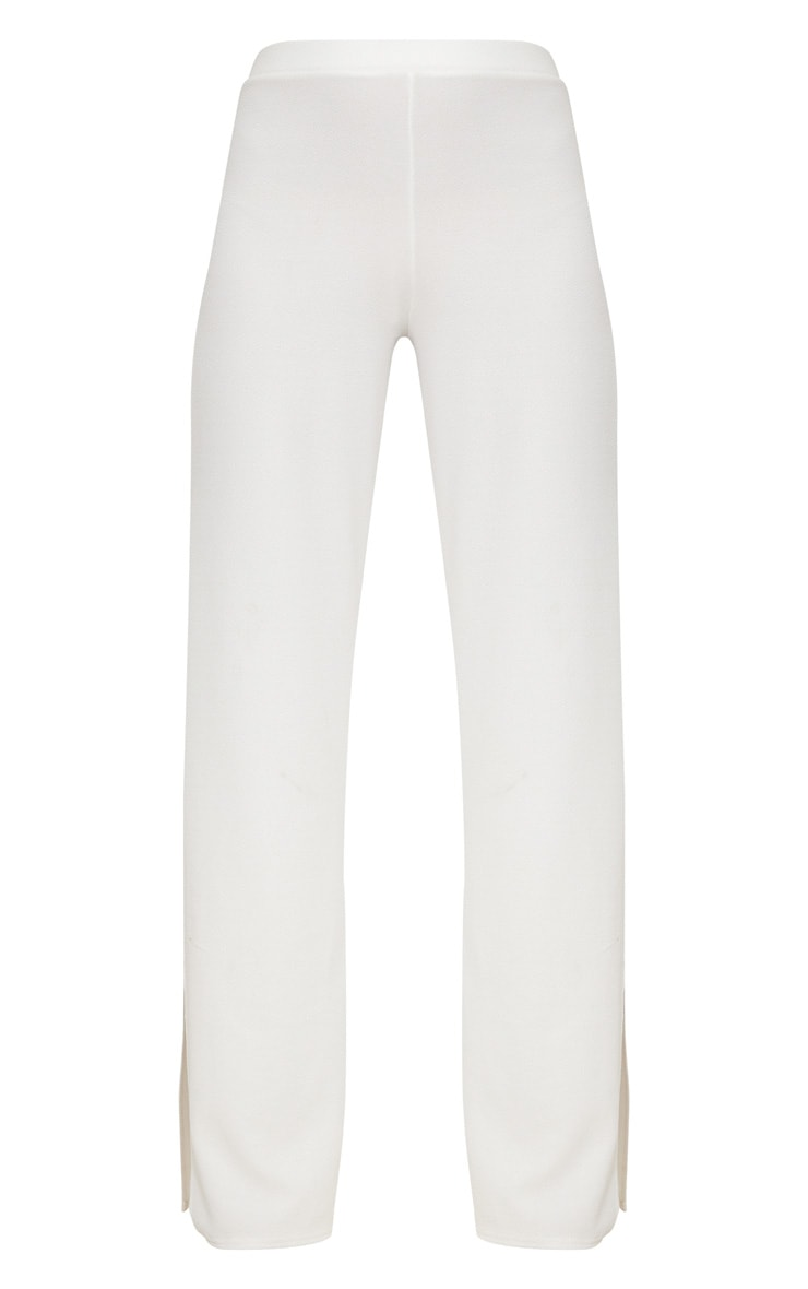 White Split Detail Wide Leg Trousers 3