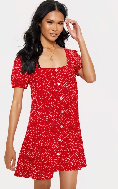 e236026c5 Red Triangle Polka Dot Button Through Shift Dress