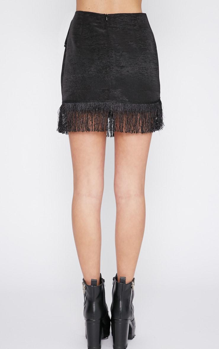 Yasmine Black Tassel Mini Skirt -XS 2