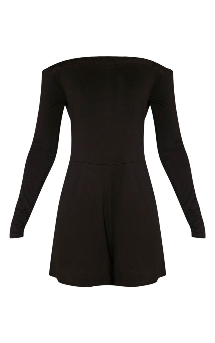 Basic combishort bardot en jersey noir 3