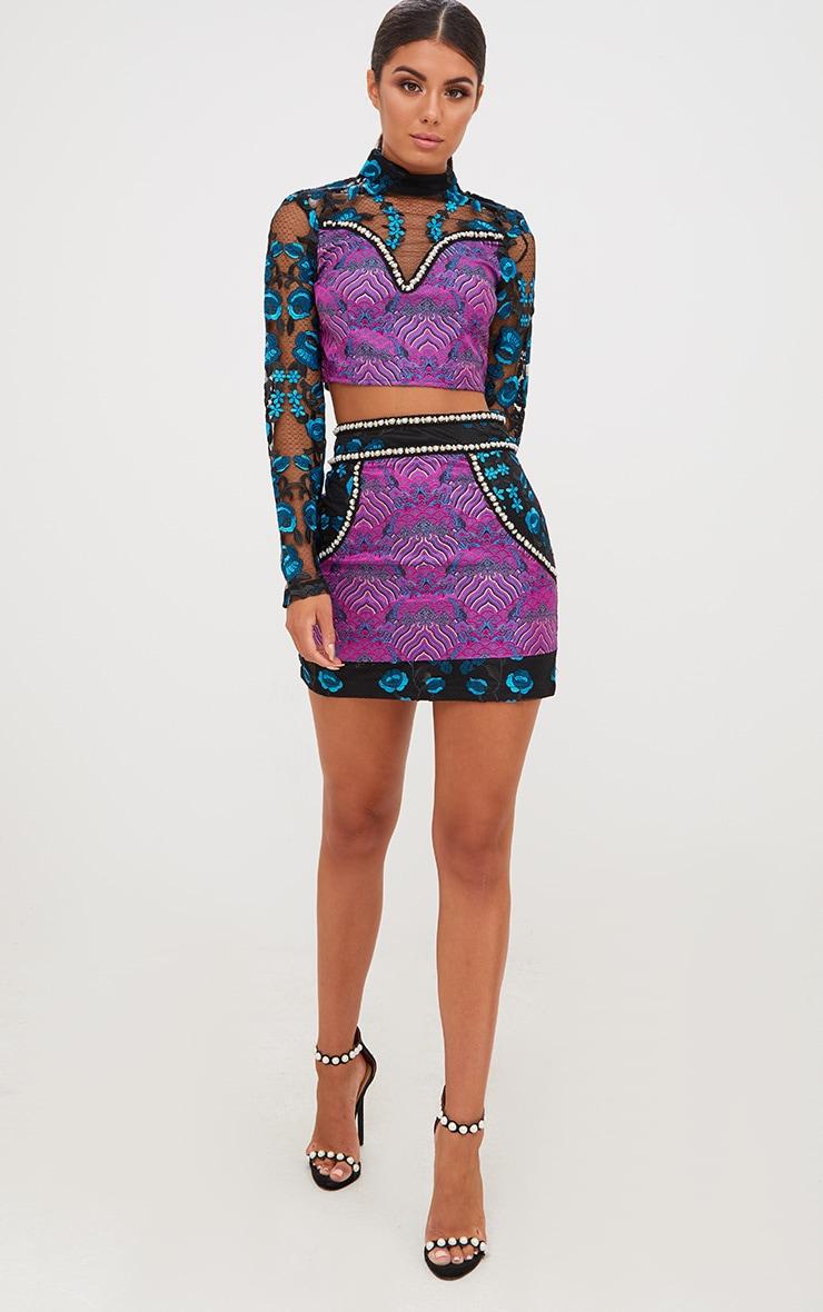 Premium Black Embroidered Jacquard Mini Skirt 6
