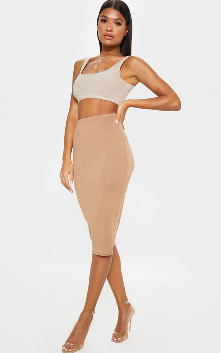 Basic Camel Midi Skirt 1