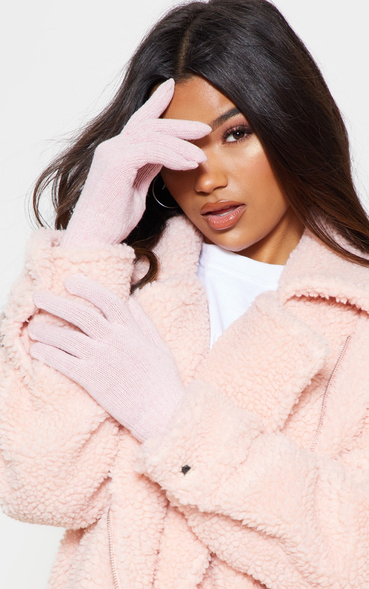Pink Plain Knitted Gloves  1