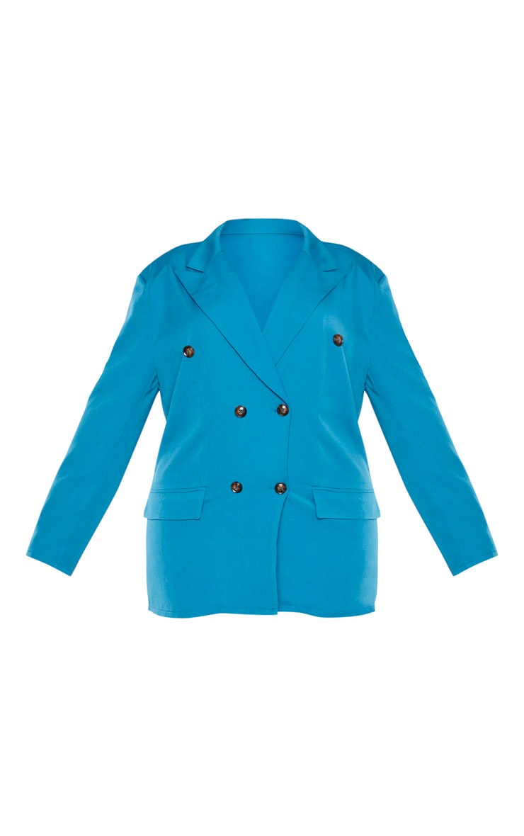 Plus Teal Woven Oversized Longline Button Detail Blazer 3