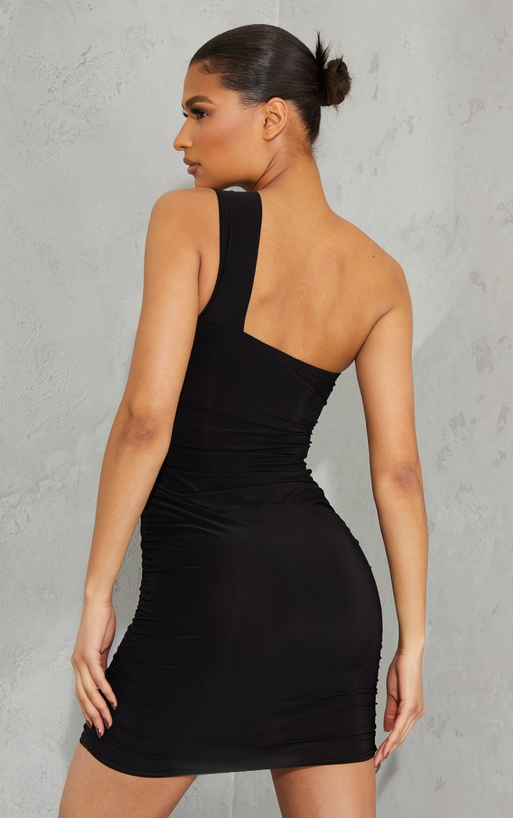 Black Slinky One Shoulder Detail Cut Out Ruched Skirt Bodycon Dress 2