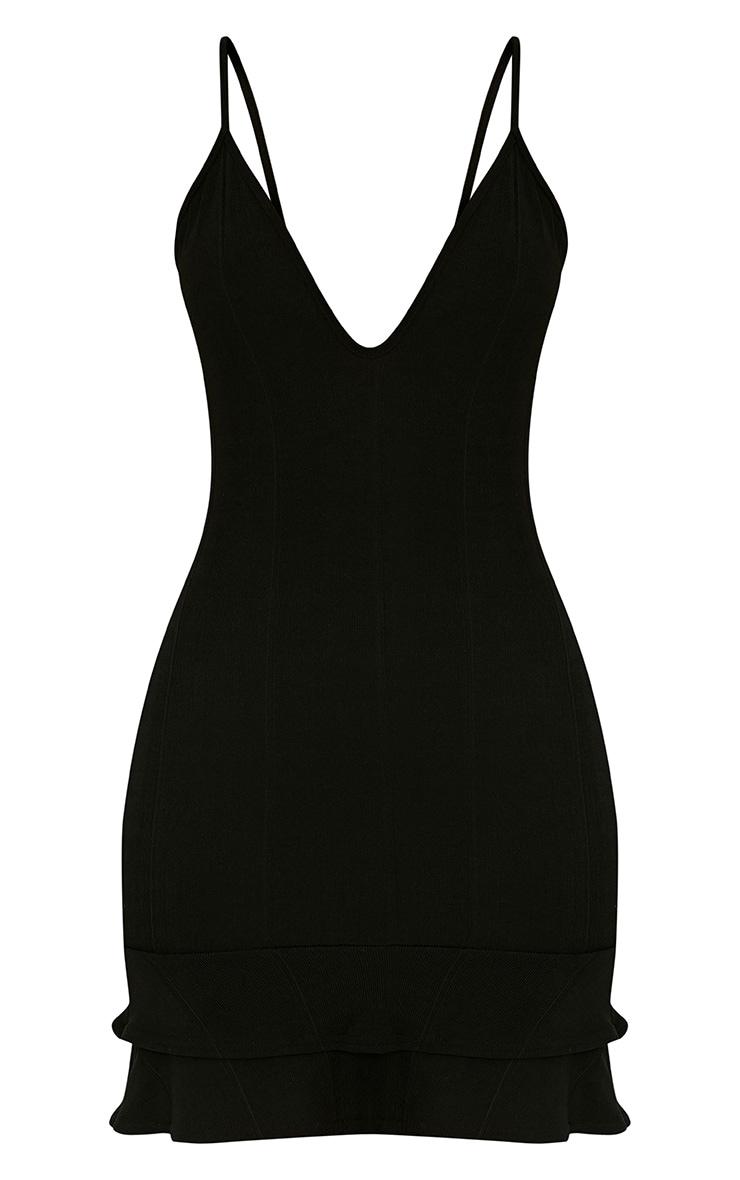 Carletta Black Bandage Frill Hem Bodycon Dress 3