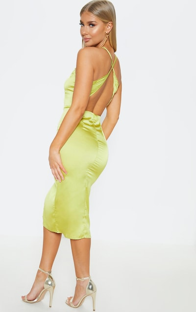 8e7eb692cec Lime Satin Backless Slip Dress