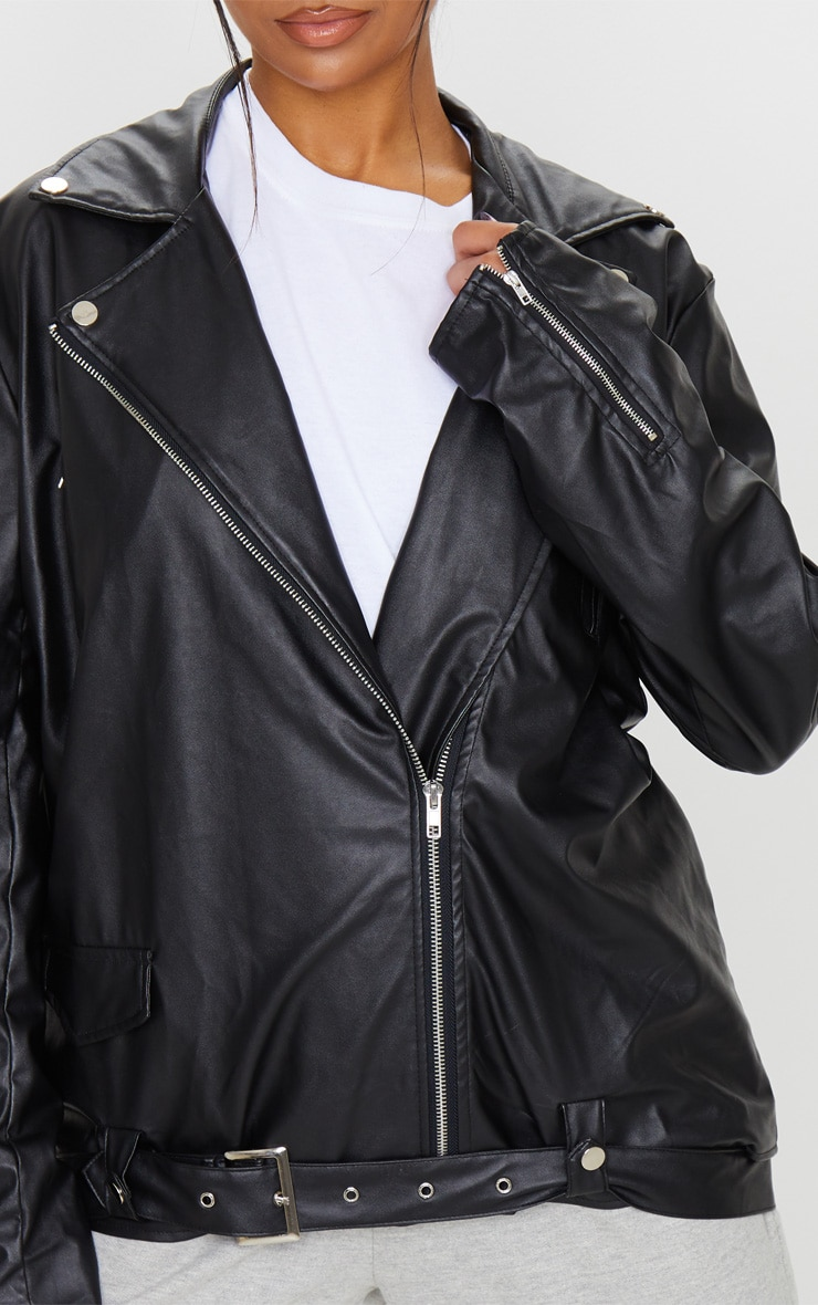Black Faux Leather Oversized Biker Jacket 5