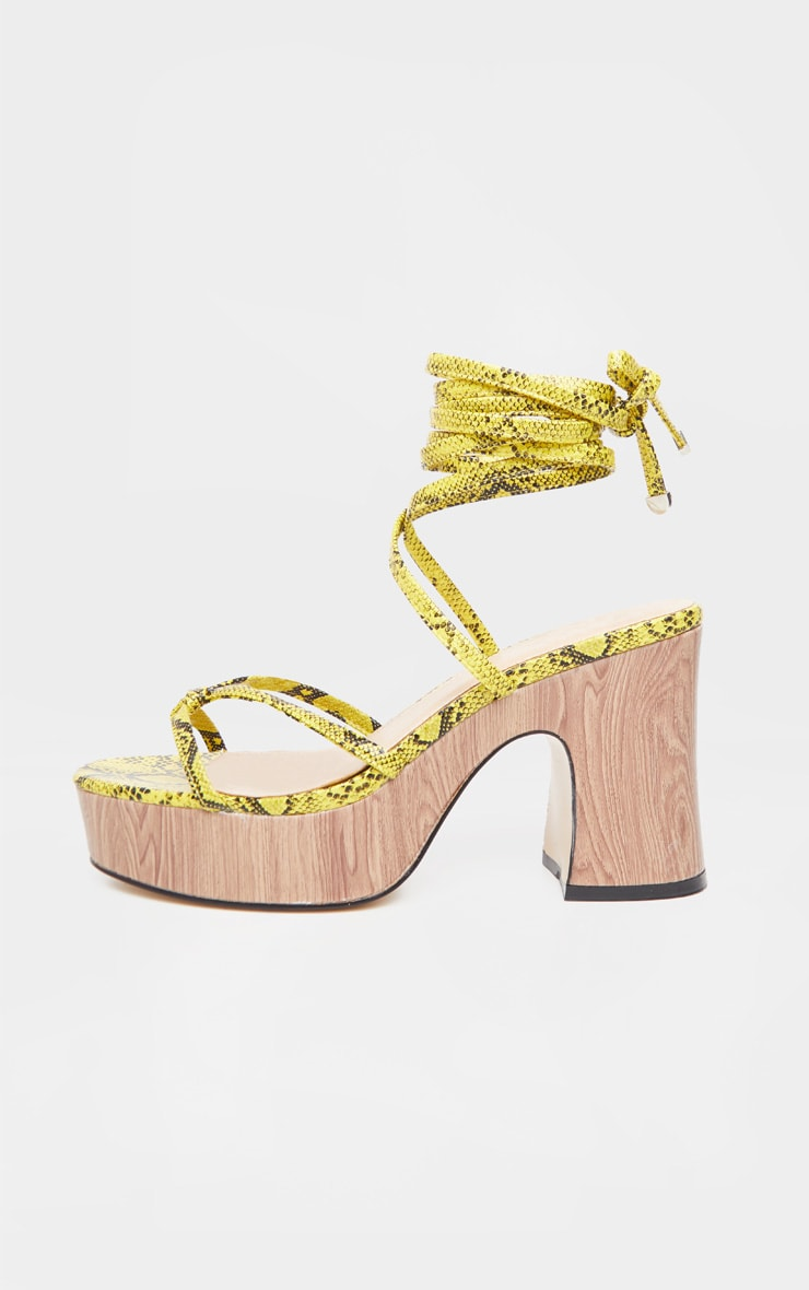 Yellow Snake Wood Platform Lace Up Sandal  3