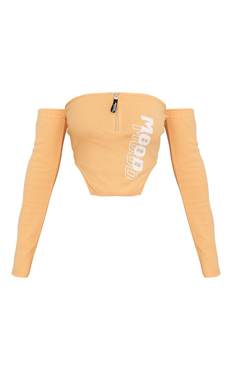 Orange Mood Printed Ribbed Bardot Zip Front Long Sleeve Top 5