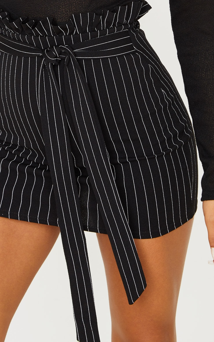 Black Pinstripe Paperbag Mini Skirt  6