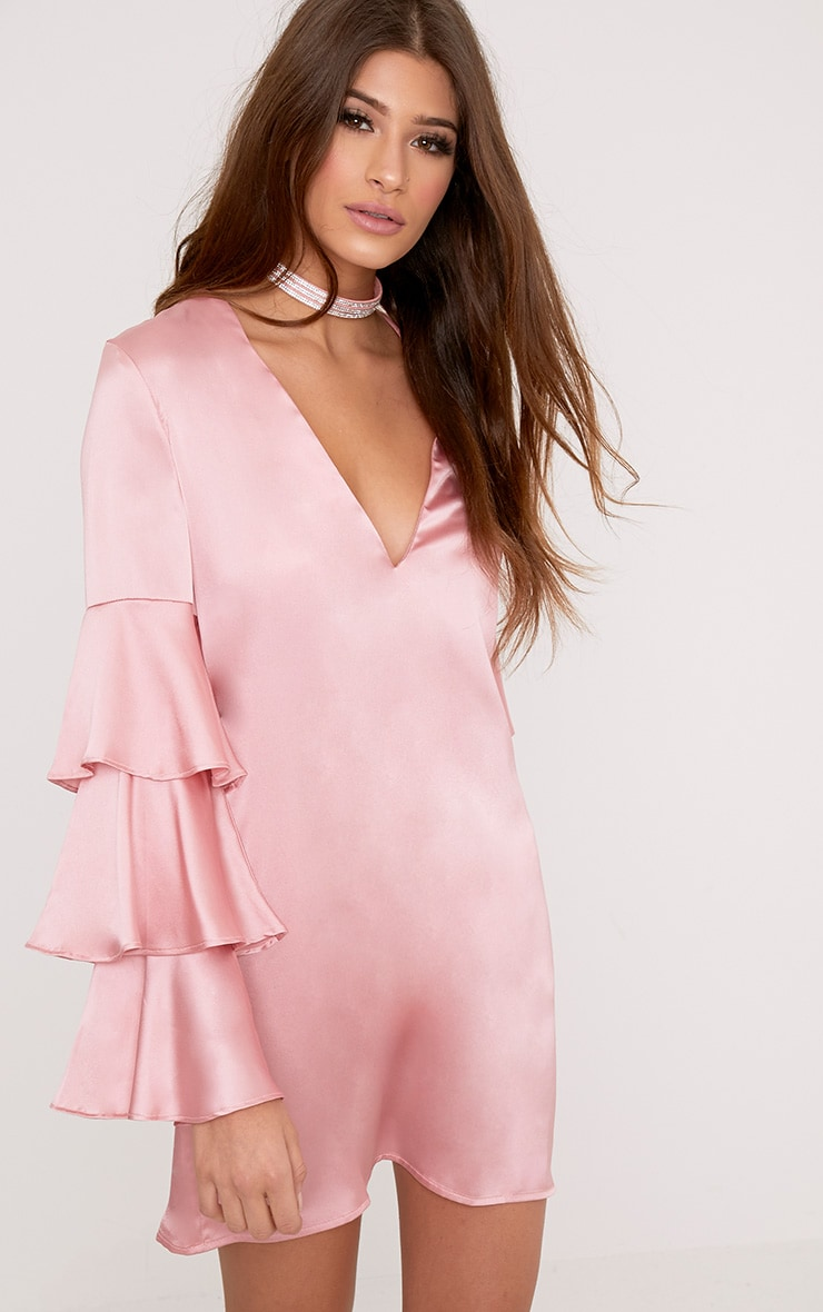 Kyleah Pink Satin Ruffle Sleeve Shift Dress 4