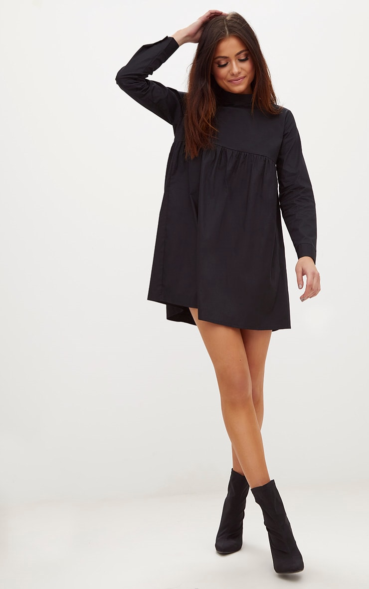 Black Cotton Poplin High Neck Smock Dress 4