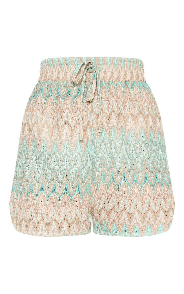 Mint Chevron Tie Waist Runner Shorts 4