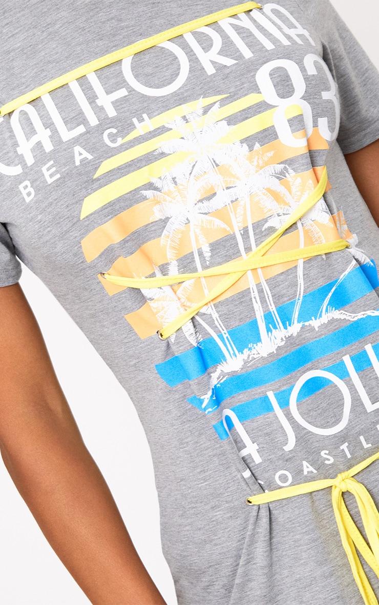 Grey Marl Slogan Print Contrast Lace Up T Shirt 5