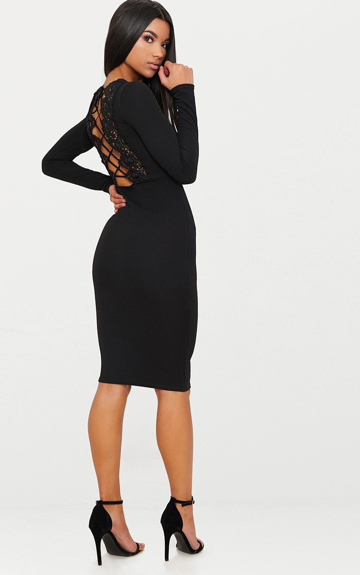 Black Lace Up Back Midi Dress 1