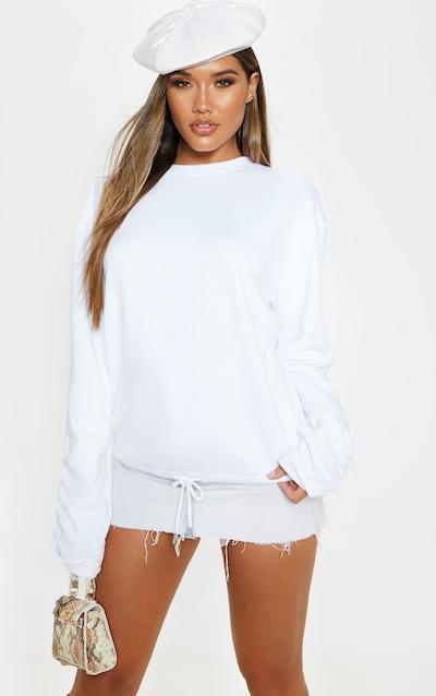 White Ruched Sleeve Oversized Sweater