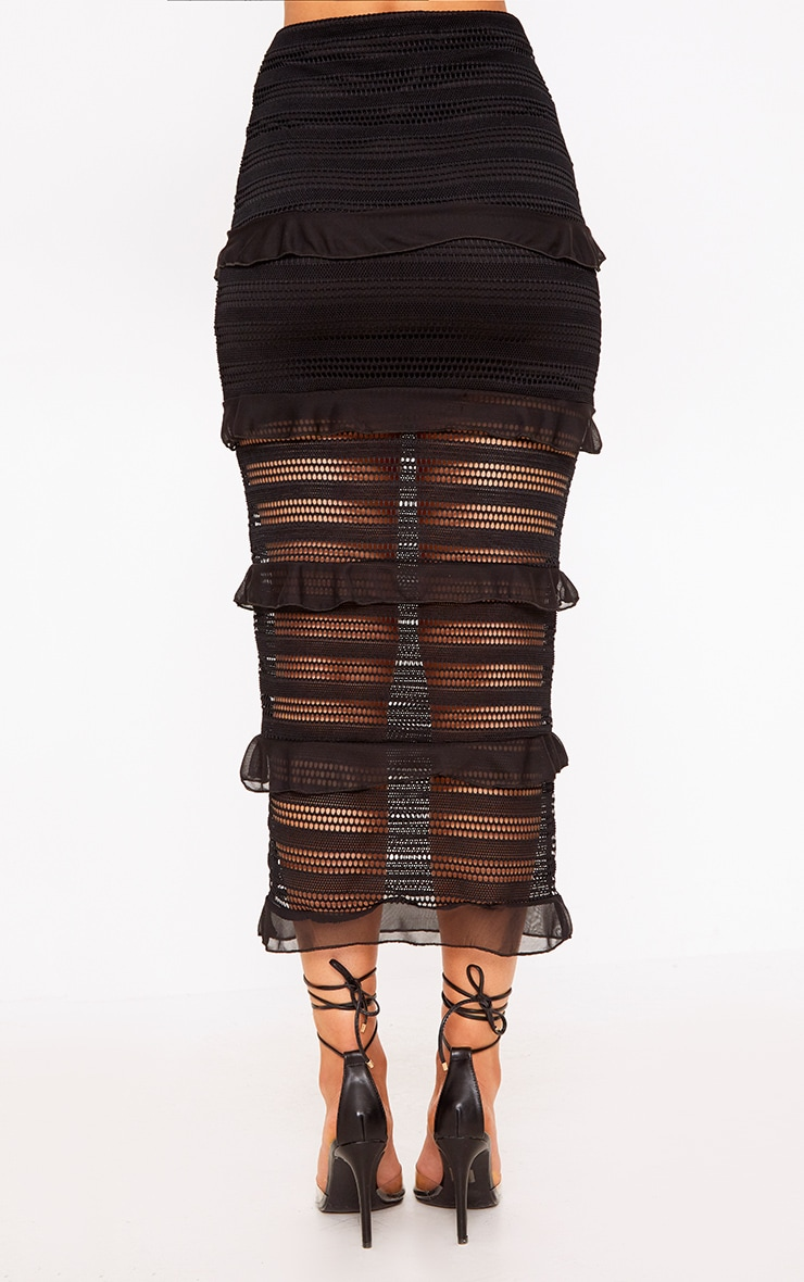 Black Tiered Frill Midaxi Skirt 4
