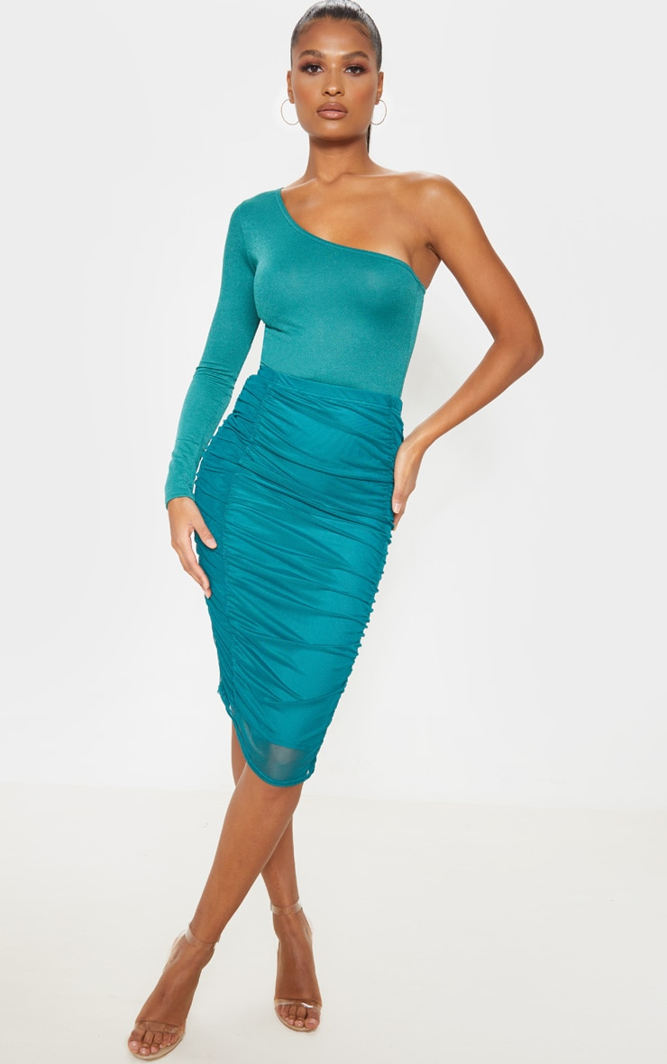 Emerald Green Second Skin Ruched Mesh Midi Skirt 1