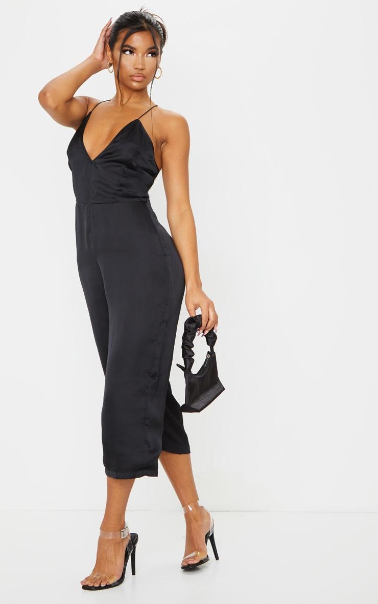 Black Plunge Culotte Jumpsuit 3