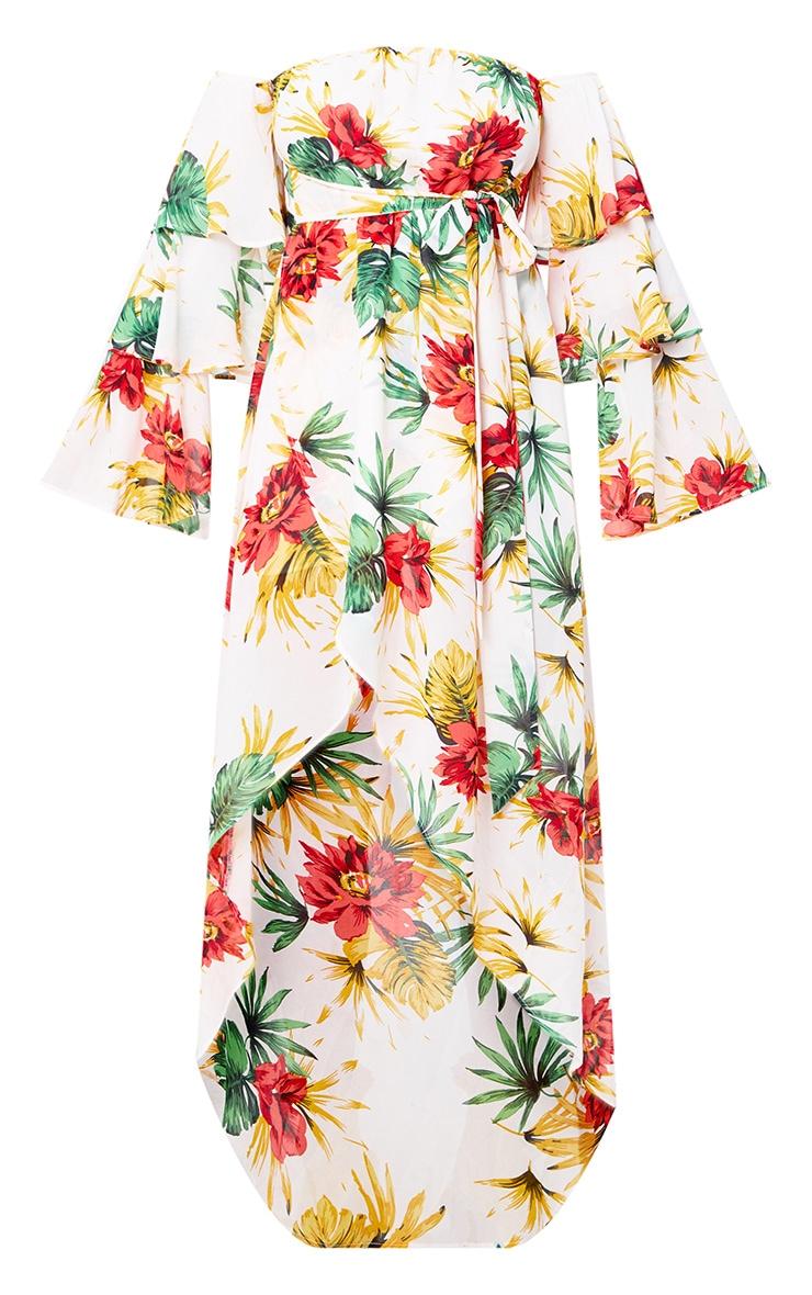 Cream Floral Bardot Frill Detail Midi Dress 3