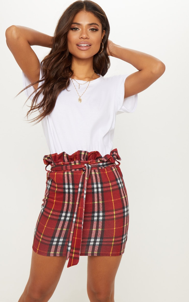 Red Check Paperbag Waist Printed Mini Skirt