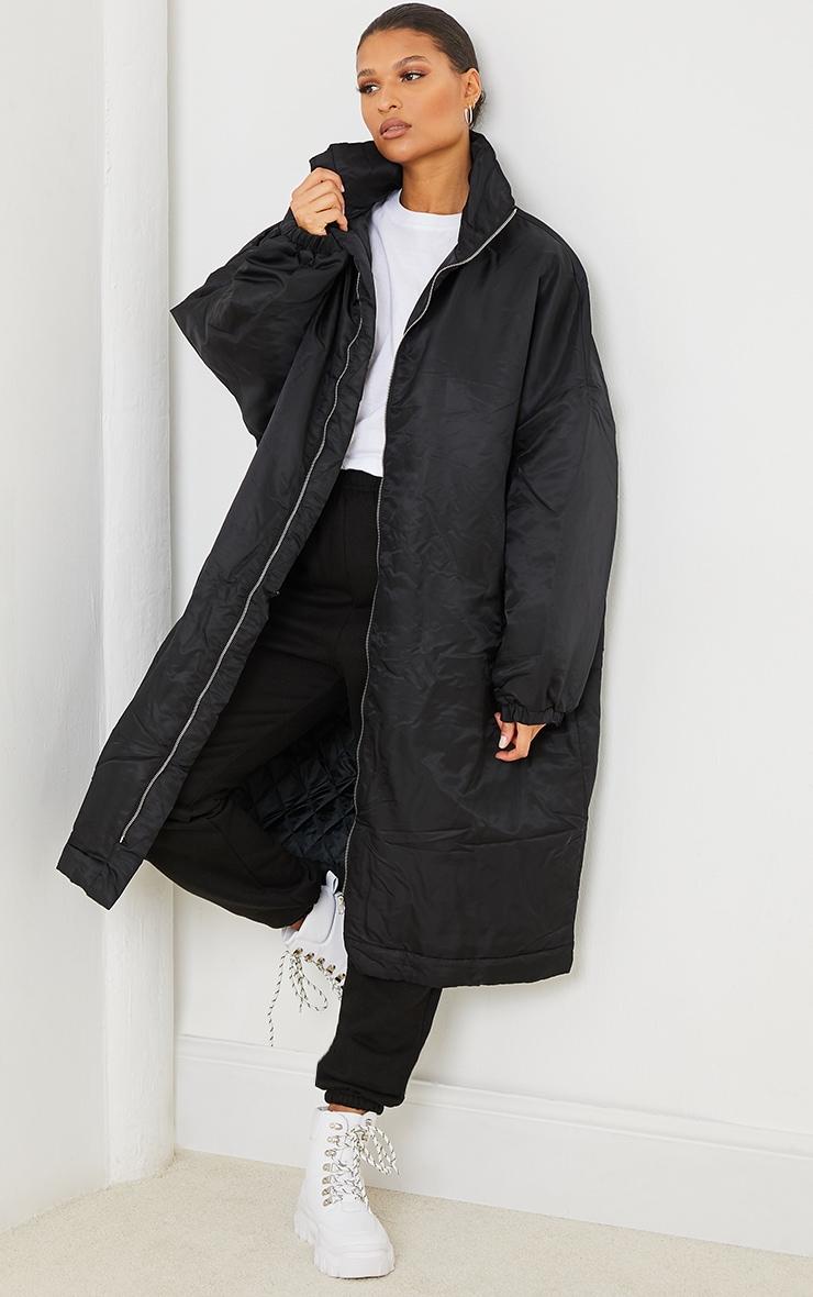 Black Nylon Drop Arm Maxi Puffer Jacket 1