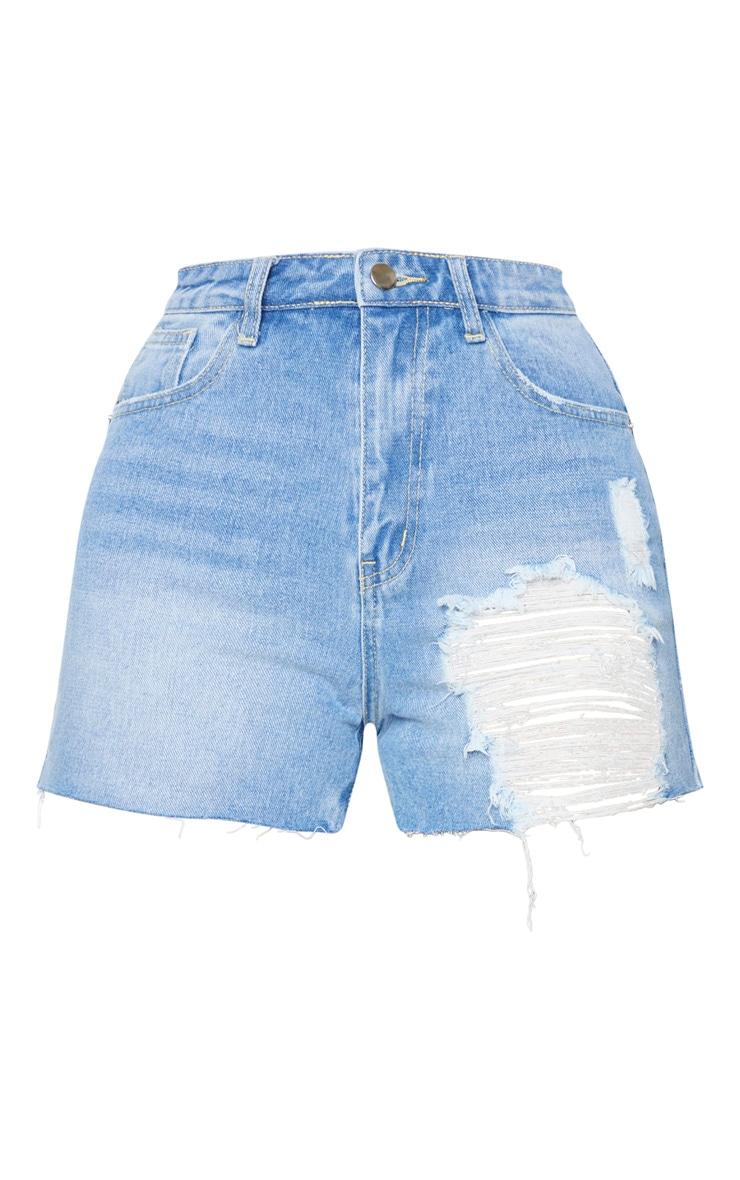 Tall Light Blue Wash Distressed Denim Mom Shorts 6
