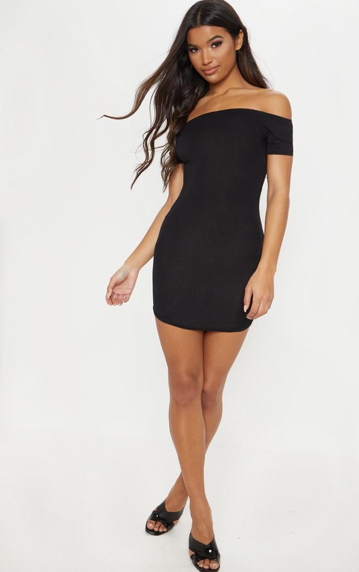 Basic Black Curve Hem Bardot Bodycon Dress 4