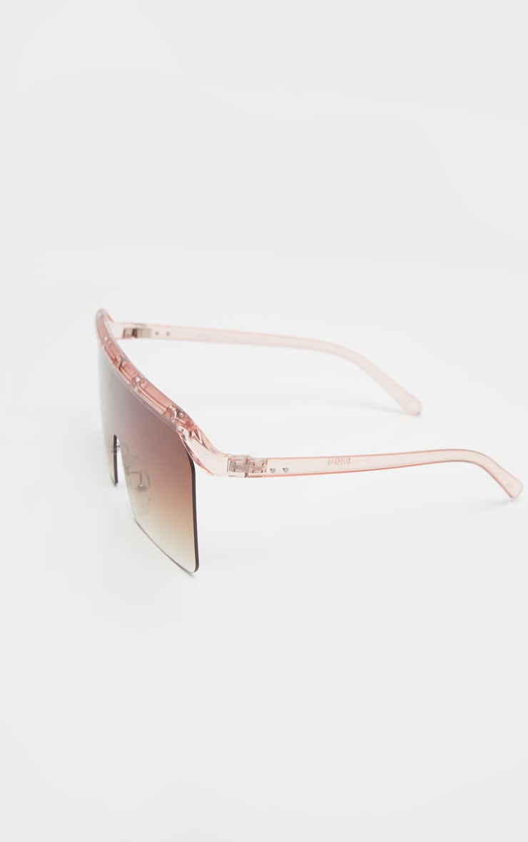 Brown Faded Square Oversized Sunglasses 3