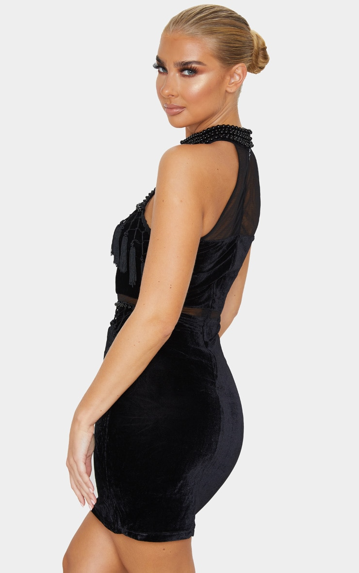 Black Beaded Velvet Tassel Bodycon Dress 2