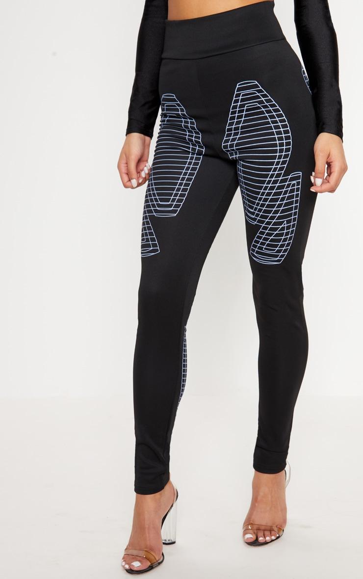 Black Digital Printed Scuba Legging 2