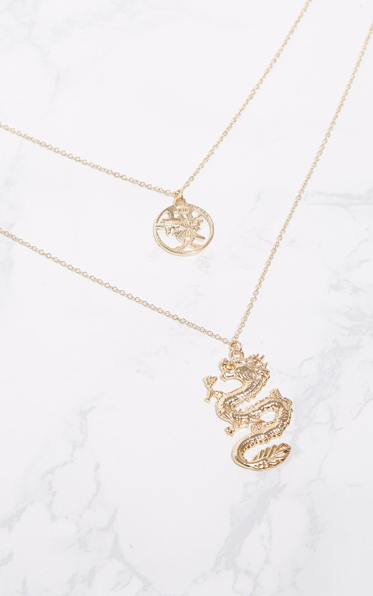 Gold Dragon Chinese Symbol Double Layer Necklace 3