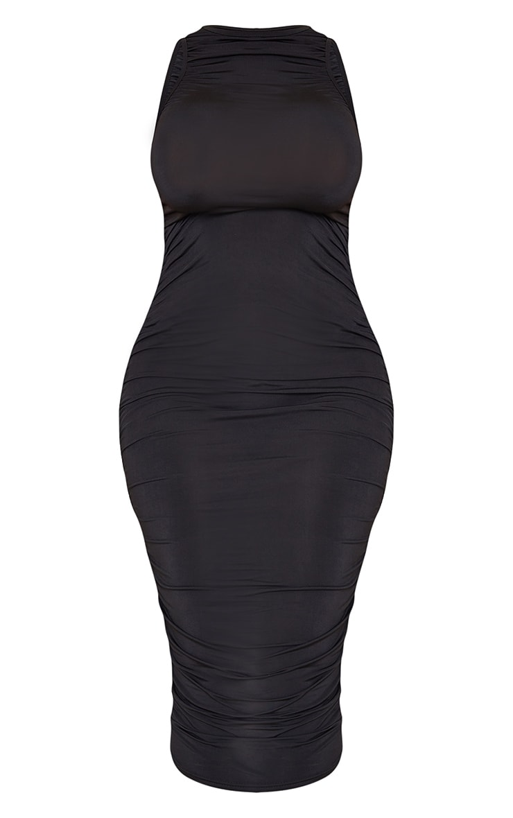 Shape Black Slinky Ruched Sleeveless Midi Dress 5