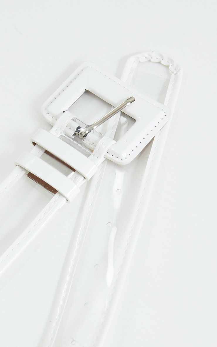 White Buckle Clear PU Waist Belt 3
