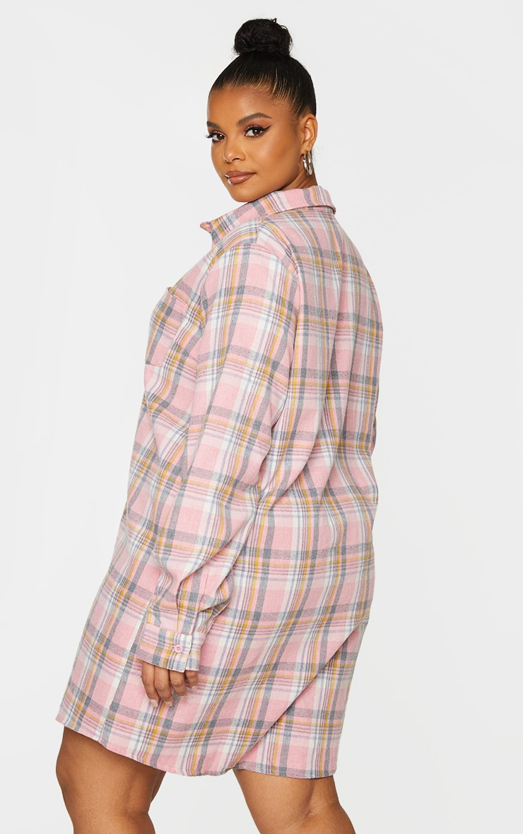 Plus Baby Pink Checked Oversized Shirt Dress 2