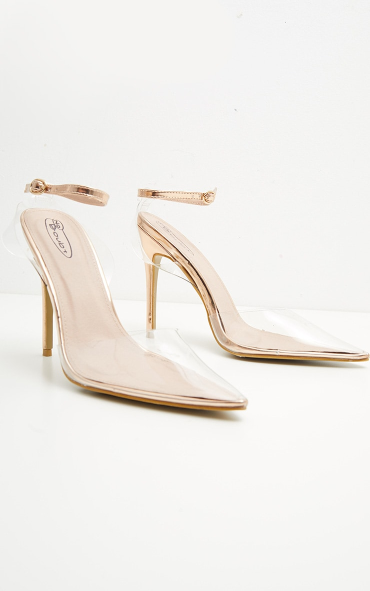 Rose Gold Clear Ankle Strap Court Shoes 3