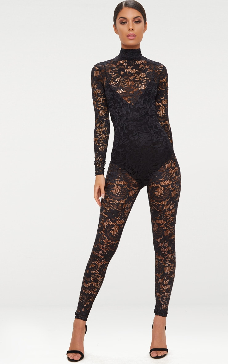 Black Lace High Neck Jumpsuit 1