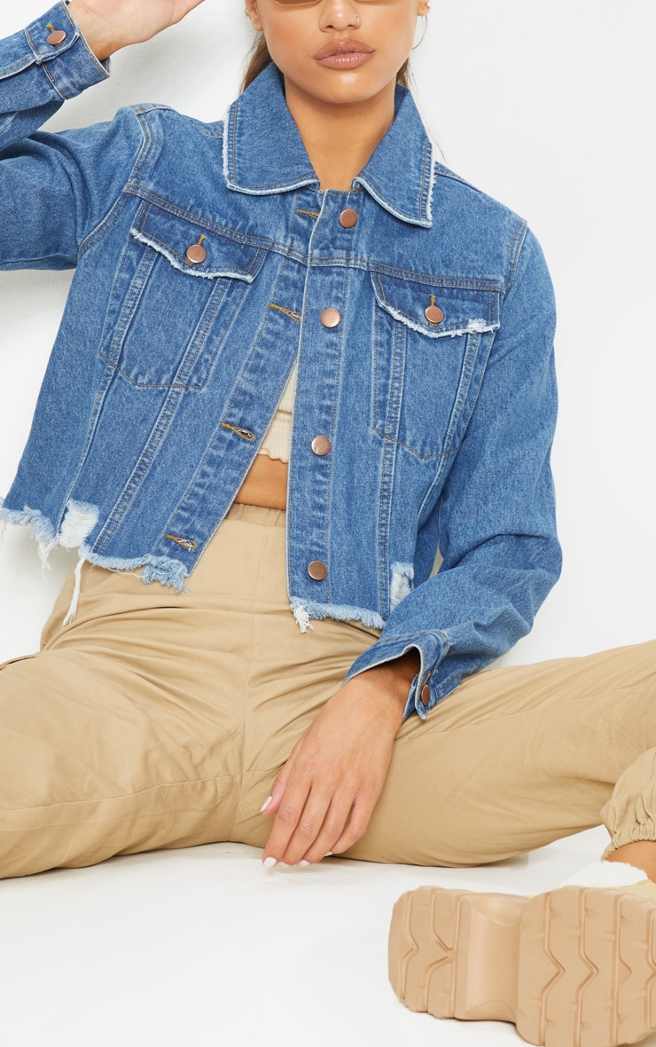Tall Mid Wash Cropped Denim Jacket 5