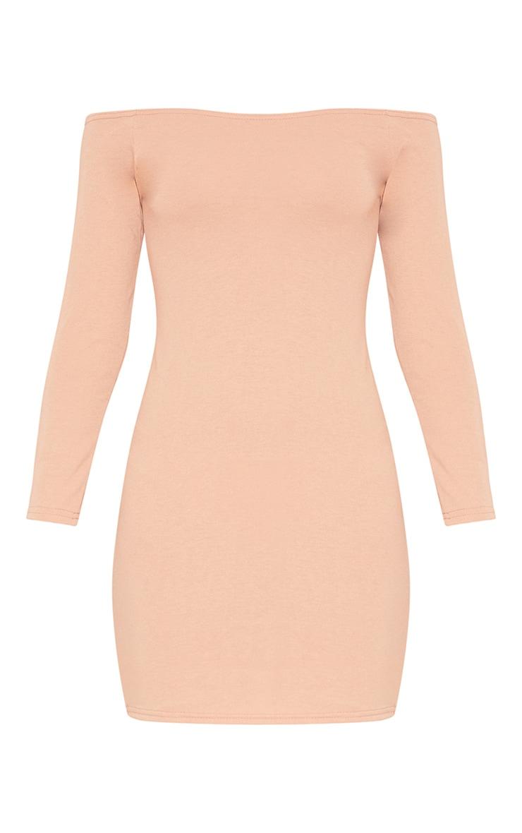 RECYCLED Pale Tan Bardot Bodycon Dress 3