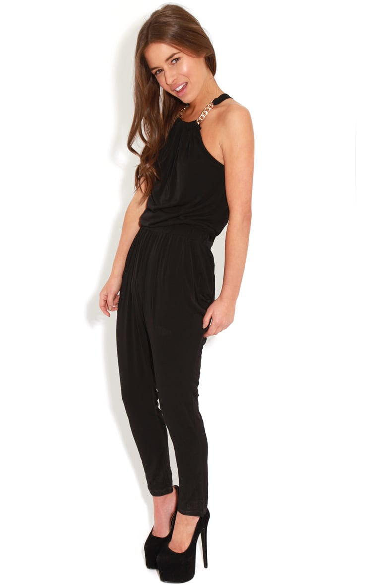 Carly Black Chain Neck Jumpsuit-S 4