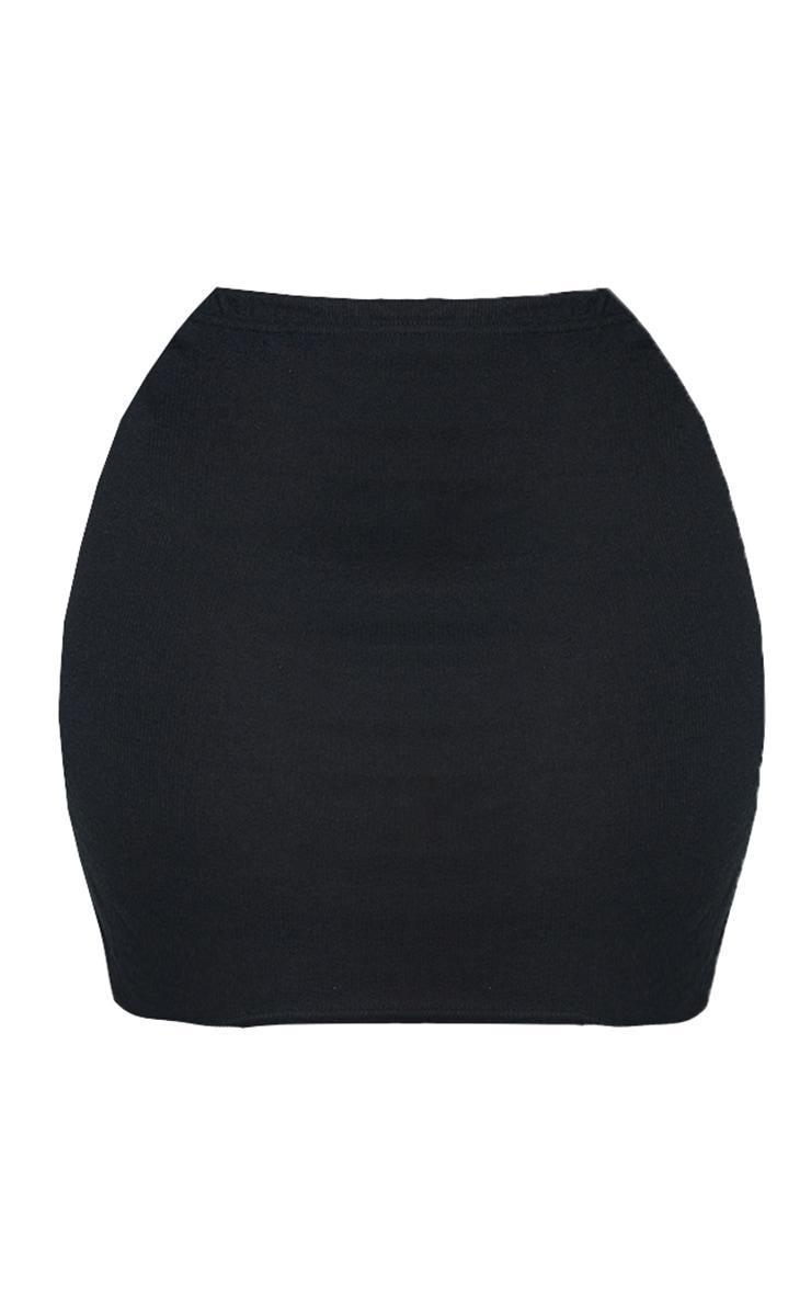 Plus Black Soft Brushed Rib Mini Skirt 6