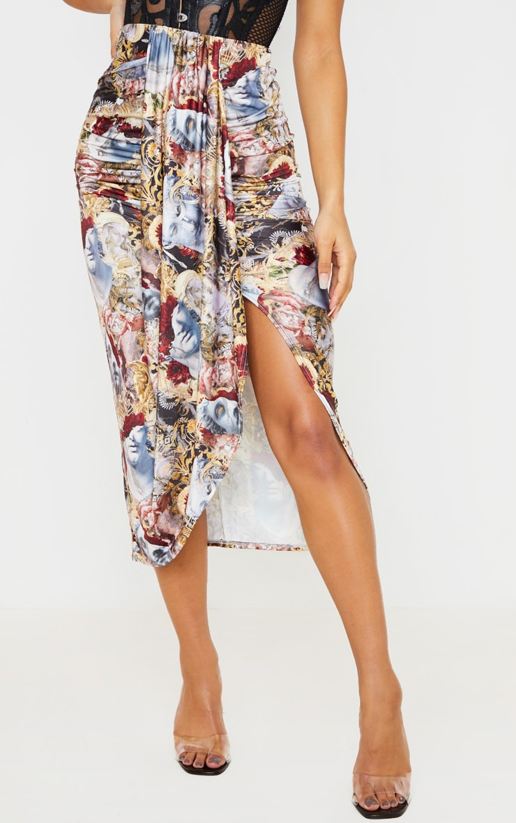 Multi Baroque Renaissance Print Drape Front Midaxi Skirt 3